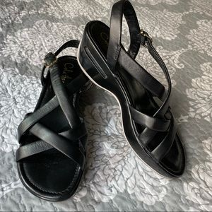 Cole Haan — NWOT Black Strappy Sandals Wedge